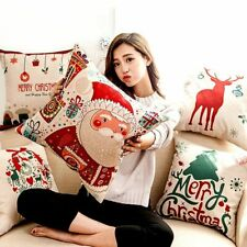 Happy New Year Christmas Decorative Pillows Cover For Home Cartoon Elk 45x45cm