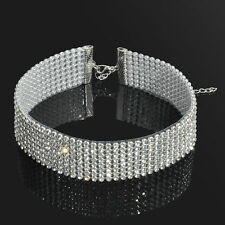 2.5cm Diamonte Bling Choker Necklace Clubbing Parties Jewellery accessories