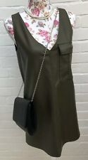 New Zara Trafaluc Faux Leather Dress XS Khaki Green Festival Blogger Party