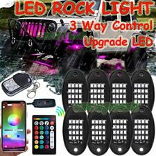 8 Pods RGB LED Rock Lights Underbody Neon Light Bluetooth App + Control Upgrade