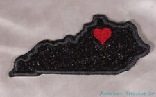 Embroidered Black Glitter Sparkle Kentucky KY Love State Patch Iron On Sew USA