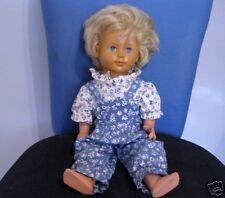 Alte Schildkröt Puppe mit süßer Kleidung  blond 40/42 cm blaue Schlafaugen