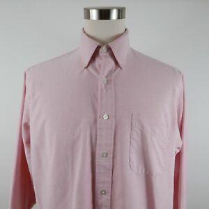 LL Bean Mens Single Needle LS Button Down Blush Pink Dotted Dress Shirt 17-33