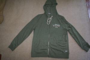 NWOT Victoria's Secret Sweatshirt zip up hoodie green sz LG FREE SHIP