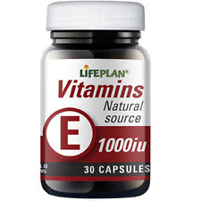 Lifeplan Vitamin E 1000iu 30 Capsules (Natural Form) Cardiovascular, Circulation