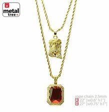 "Men's 14k Gold Plated Jesus & Red Ruby 22"" 27"" Combo Pendant Necklace MHC 209 G"