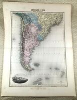 1903 Antique Map of South America Buenos Aires Old Hand Coloured Engraving