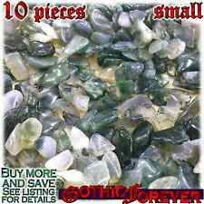 10 Small 10mm Combo Ship Tumbled Gem Stone Crystal Natural - Agate Moss