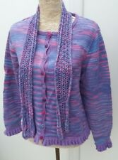 Unbranded Ladies Size 10 12 Purple Pink Blue Hand Knit Button Cardigan Autumn