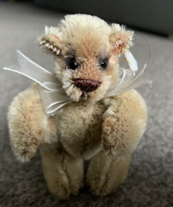 """Mohair Airbrushed  ARTIST 3"""" PUDGE TEDDY BEAR Jointed W/Tag SO CUTE NR"""