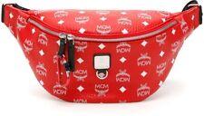 Authentic MCM Visetos Fursten Red Medium Belt Bag Adjustable NWT