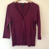 Talbots Womens Large Ribbed Pima Cotton Lace Trim V-Neck Cardigan Purple NEW 575