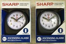 NEW Set Of Two Sharp Quartz Analog Black Ascending Alarm Clocks Battery Operated