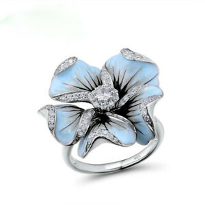 Gorgeous Red Ruby Rose Flower Wedding Ring 925 Silver Engagement Jewelry Sz 6-10