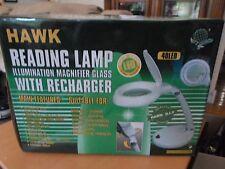 Hawk Reading Lamp Light Illumination Magnifer Glass With Charger 40 LED New Box