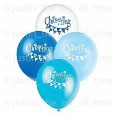 "BLUE CHRISTENING BOY Party Balloon Decorations 12"" Latex Helium BALLOONS x8"