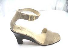 Anne Klein 8.5M 9M beige brown nude ankle strap sandals womens ladies shoes