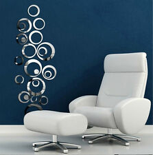New Modern Circles Mirror Removable Decal Vinyl Art Wall Sticker Home Decor