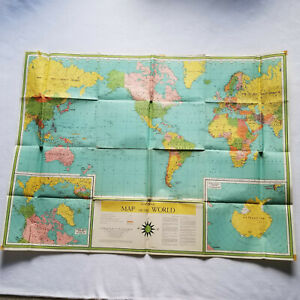 1958 Universal Map of the World by Book Enterprises, NY, Original Large Wall Map