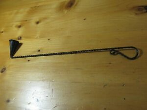 "SWEDEN LONG STIFF 15 1/8"" VTG WROUGHT IRON METAL TWISTED BLACK CANDLE SNUFFER"