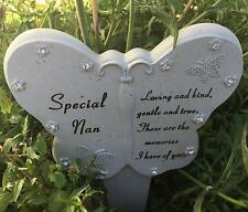 Special Non Butterfly Heart Shaped Stone Memorial Plaque Stake Grave Ornaments