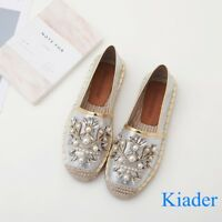 Womens Retro Rhinestone Slip on Moccasins Loafers Comfy Espadrille Flats Shoes
