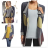CAbi Style #467 Color Block Blanket Sweater Open Style Long Sleeve Safety Pin M