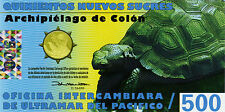 Galapagos Is 500 Nuevos Sucres, Charles Darwin, tow turtle  POLYMER Vivid