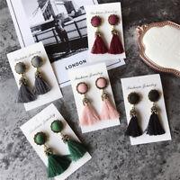 Boho Women Thread Long Tassel Earrings Crystal Drop Statement Fringe Earrings