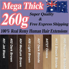 Mega Thick Clip In/On Real Remy Human Hair Extensions Full Head Ombre/Black 260g