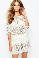 Stevie May Cut Out Lace Crochet Detail White Marry Me Slip On Mini Dress SM-0339