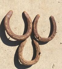 Lot of 3 Real Rusty Rustic Metal Iron  Used Horse Shoe Good Luck Charm Horseshoe