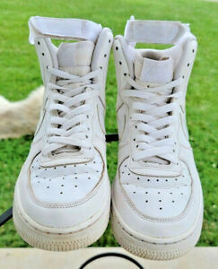 Nike Air Force 1 High GS Triple White Youth Shoes Sz 7Y 653998-100 Athletic Shoe