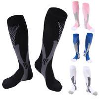2 Pairs 30-40 mmhg Unisex Sports Knee High Compression Socks Running Fitness Jog
