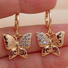 """Laser Carved Topaz Hoop Earrings Sw 18K Gold Filled -1.1"""" Hollow Swirl Butterfly"""