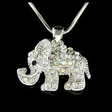 w Swarovski Crystal ~Holy Elephant~ Good Luck Lucky Wish Charm Pendant Necklace