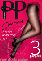 "3 Pairs Pretty Polly Curves 15 denier Ladder resist Tights XL - XXL to 60"" hips"
