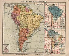 1934 MAP ~ SOUTH AMERICA POLITICAL ~ WITH RAINFALL PRESSURE & WINDS