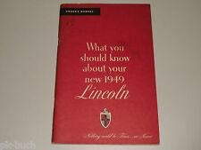 Mode D 'em Ploi Manuel Owner's Mode D 'em Ploi 1949 Lincoln/Lincoln Cosmopolite