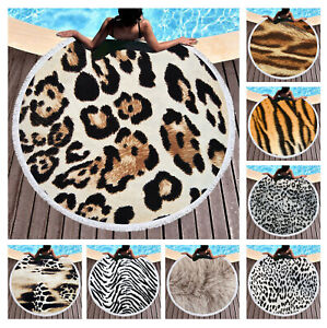 Gift Animal Zebra Tiger Leopard Skin Fur Print Round Beach Towel Blanket Shawl