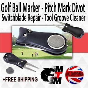 Golf Ball Marker Pitch Mark Divot Switchblade Repair Tool Groove Cleaner Black