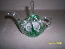 Joe St. Clair Green Art Glass Crimp Flower Bubble Ringholder Teapot Paperweight