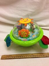"""Fisher Price Rainforest Shake n Chime Ball Toy 6.5"""" Wide Baby Activity Toy GUC"""
