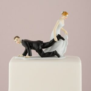 """Bride """"Having the Upper Hand"""" Wedding Cake Topper Funny Personalized"""