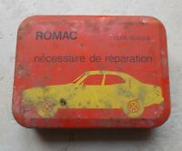 Vintage french bicycle repair kit Romac advertising tin box France antique 50s
