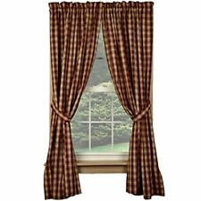 New Primitive Country TAN & BARN RED PLAID PANELS Checked Drapes Curtains 63""