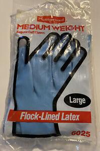 Vintage 1993 Rubbermaid Flock-Lined Latex Gloves Large Regular Cuff Blue NOS