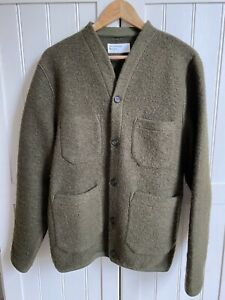 Universal Works Olive Wool Fleece Cardigan Large