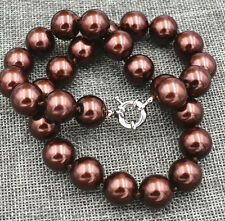 Fashion 14mm Coffee Brown Shell Pearl Jewelry Necklace 18 inches A
