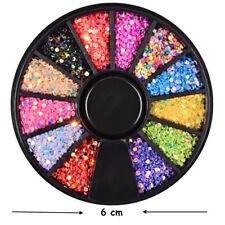 Ruota Srass-Paillettes-1mm-12 coloriDecorazione Unghie-Multicolore-Manicure !!!